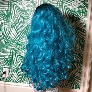 Blue and black long costume wig